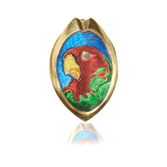 Parrot Cloisonne Jewelry | Custom Brooch | Fine Gold Jewelry