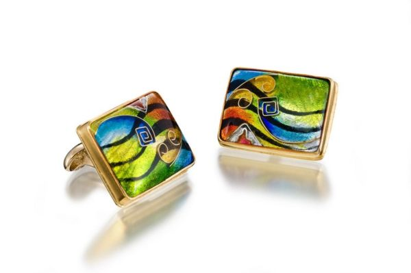 Abstract Art | Cloisonne Cufflinks | 18K Gold Cufflinks