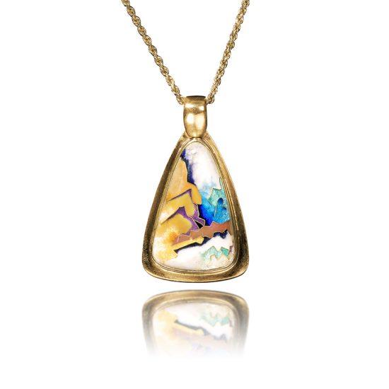 Abstract Pendant   Cloisonne Jewelry   Enamel Jewelry