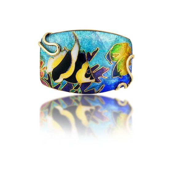 Angelfish | Cloisonne | 18K Gold | Necklace | Pendant | Cloisonne Jewelry | Jewelry by Patsy Croft