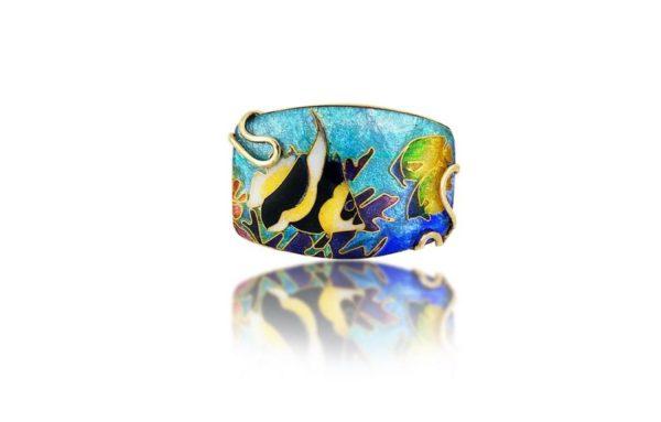 Angelfish | Cloisonne Custom Necklace Pendant | 18K Gold Jewelry