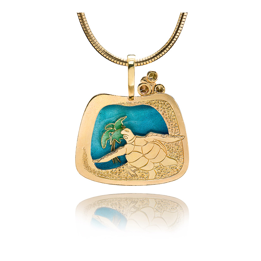Fish of the Ocean | Cloisonne jewelry | Turtle Jewelry | Custom Pendant | Patsy Croft