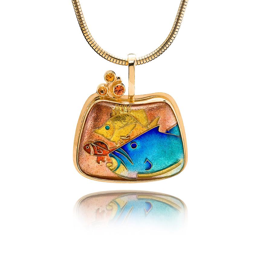 Big Fish Little Fish | Cloisonne jewelry | Enamel Jewelry