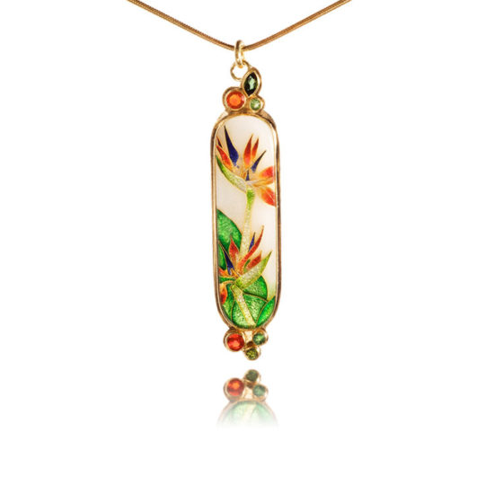 Bird of Paradise Necklace II | Cloisonne Jewelry | Enamel Jewelry
