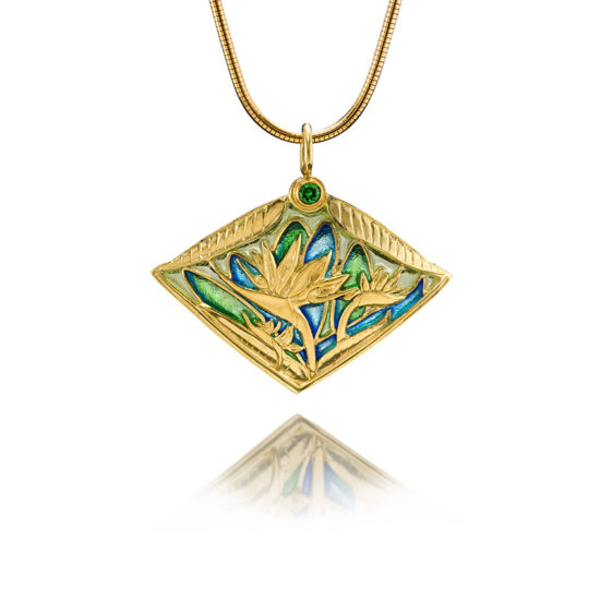 Ethereal Beauty   Bird of Paradise   Plique a Jour Jewelry   Enamel Necklace