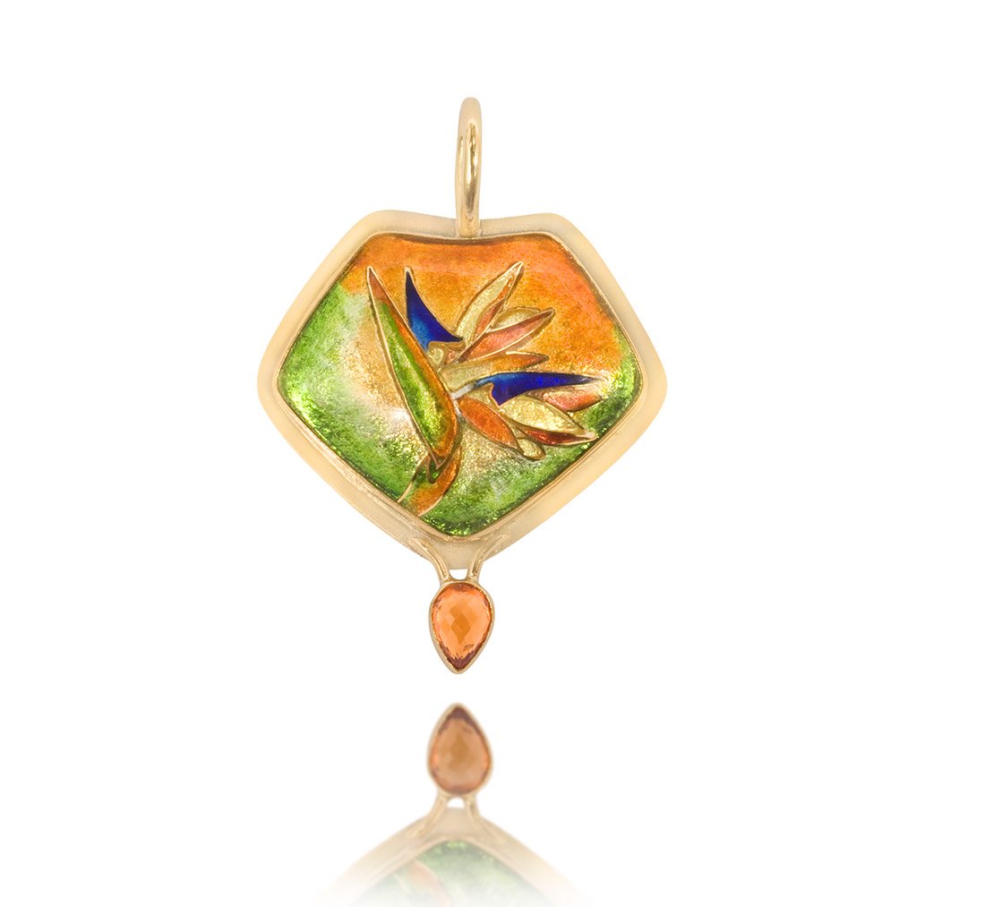 Bird of paradise pendant | Cloisonne Jewelry | Enamel Jewelry