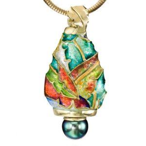 Black Pearl OOAK Pendant | 3D Enamel Necklace | Cloisonne Pendant