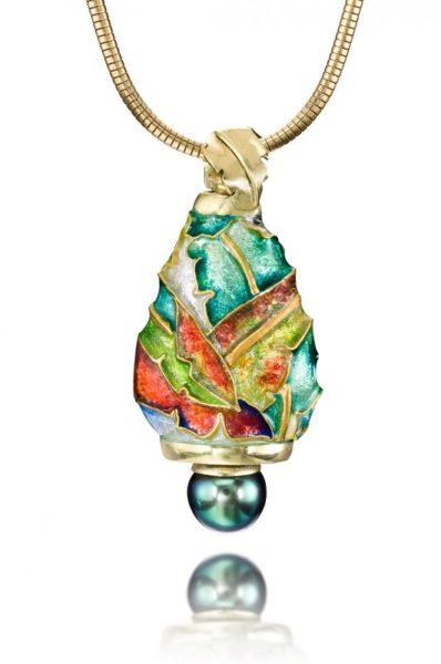 Black Pearl 3D Necklace |Custom Enamel Pendants