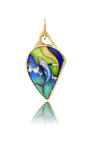 Breaching Whale | Cloisonne Pendant | Handmade Jewelry