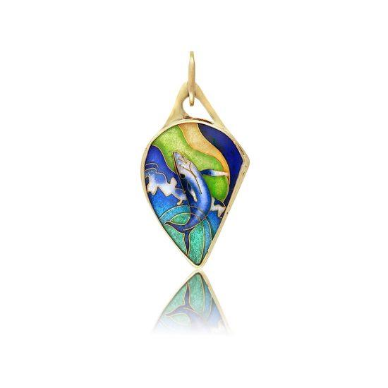 Breaching Whale | Handmade Jewelry | Cloisonne | Pendant | Patsy Croft