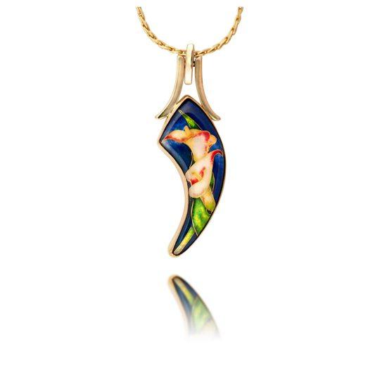 Cloisonne Necklace | 18K gold | Custom Jewelry | Enamel Jewelry | Calla Lilies | Patsy Croft