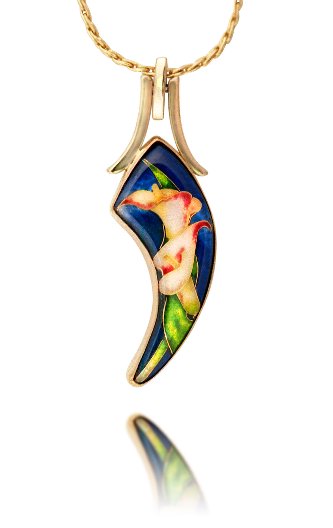 Cloisonne Jewelry | Calla Lillies | Enamel Jewelry created by Patsy Croft