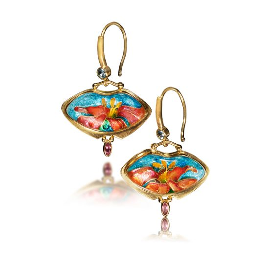 Cloisonne Jewelry | Cannas | Carnival | Custom Jewelry | Enamel Earrings