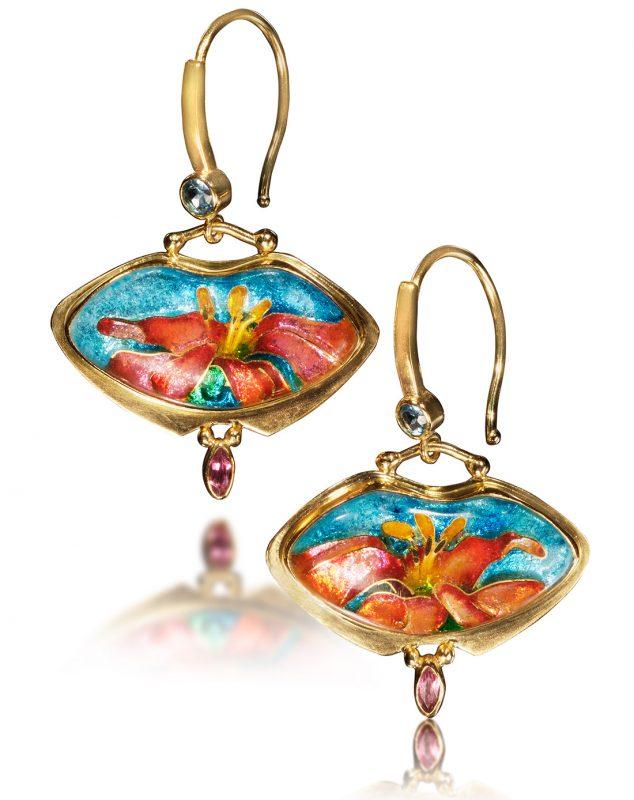 Enamel Earrings Canna   Cloisonne Jewelry   Enamel Jewelry by Patsy Croft