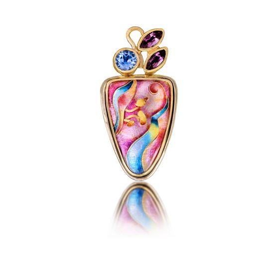 Cloisonne Jewelry | Canna Necklace | Enamel Jewelry by Patsy Croft