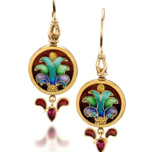 Mardi Gras - Masquerade Ball - cloisonné earrings - 22K gold