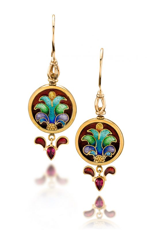 Mardi Gras - Masquerade Ball - cloisonné earrings - 22K gold