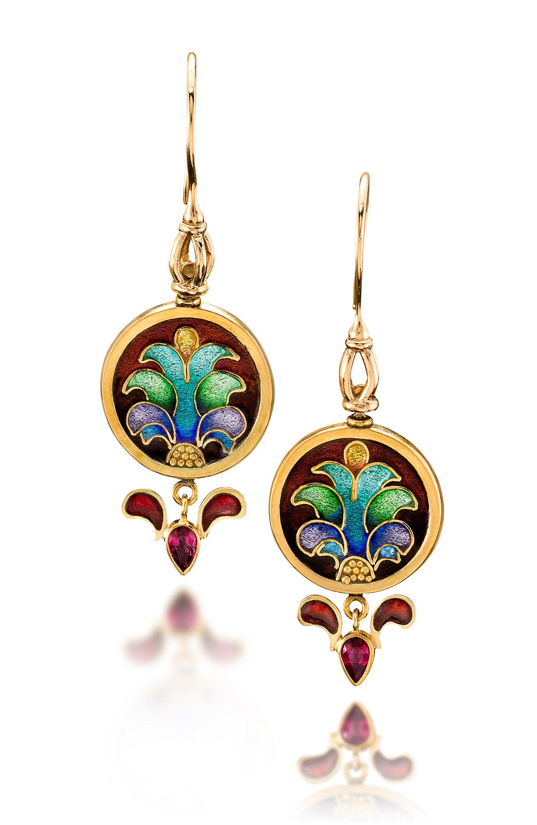 Custom Enamel Earrings | Carnivale 11 | Enamel Jewelry by Patsy Croft