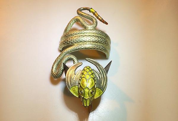 Whoppi Goldberg Gold Coil Bracelet - Dragon Bracelet - Patsy Croft