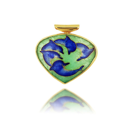 Cloisonne | dolphin necklace | enamel pendant | circle-of-life