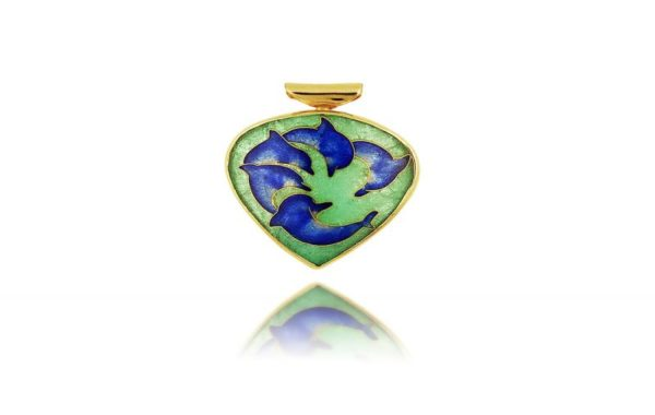 Dolphins Circle of Life | Cloisonne Necklace Pendant | Ocean Jewelry
