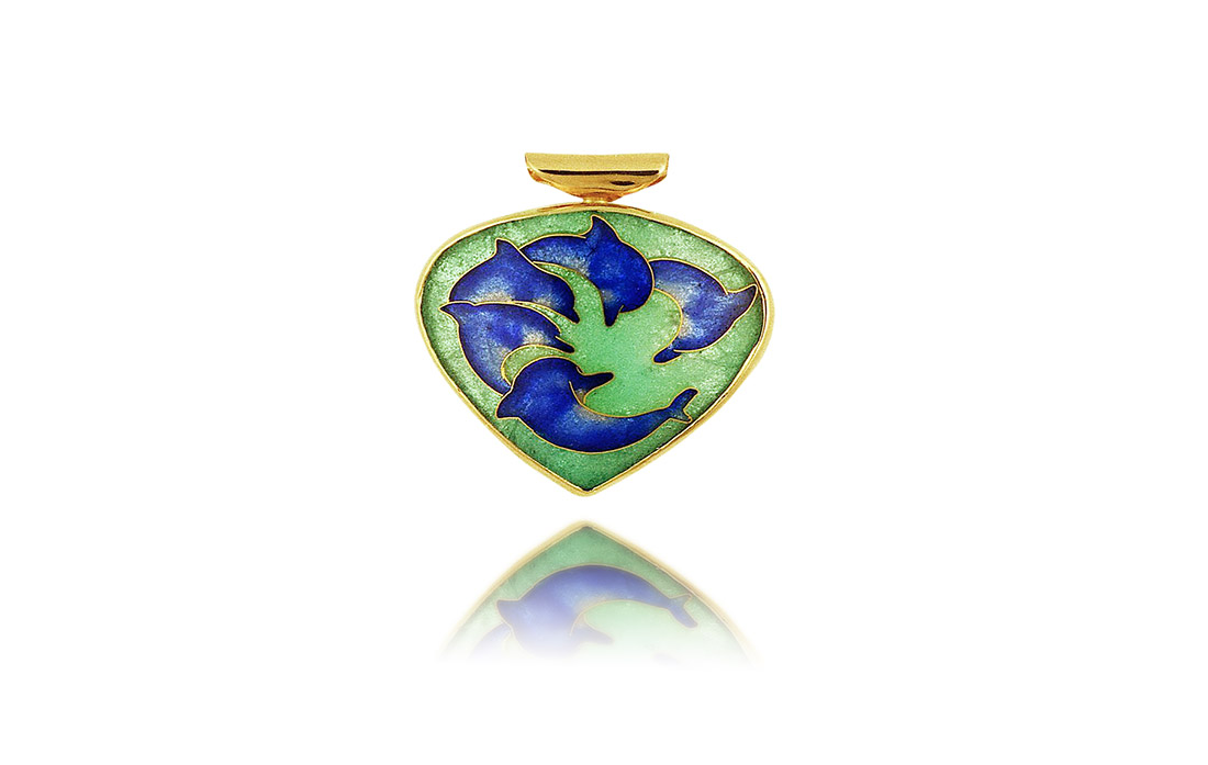 Circle of Dolphins | Cloisonne Jewelry | Enamel Jewelry | Unique Jewelry Designs