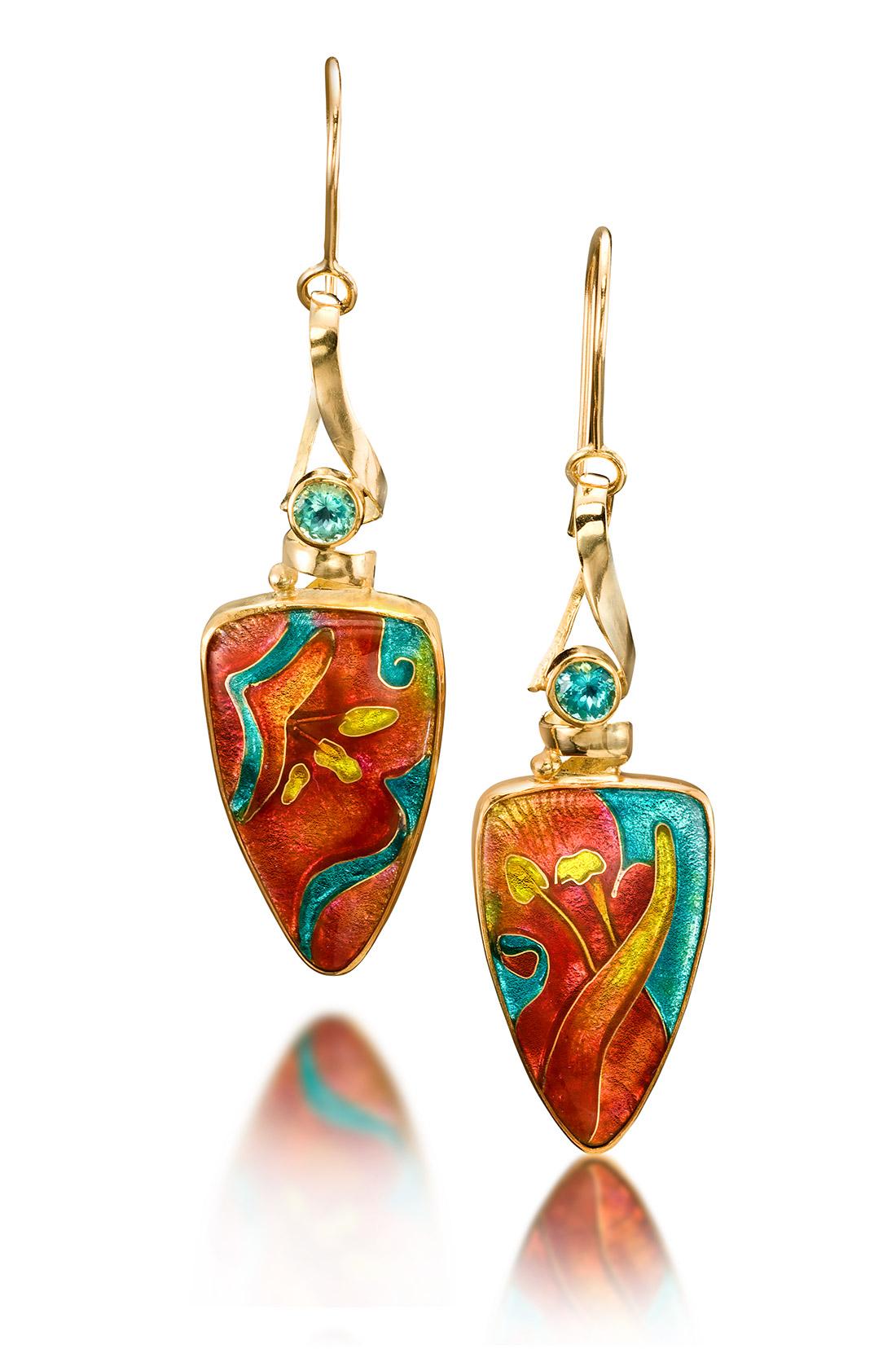 Custom Enamel Earrings | Spring Flowers | Enamel Jewelry by Patsy Croft