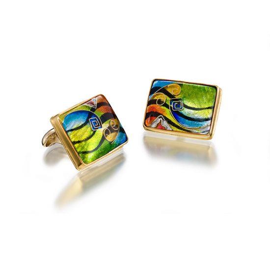 Custom Cufflinks | Cloisonne Jewelry | Jewelry for Men | Enamel Jewelry by Patsy Croft