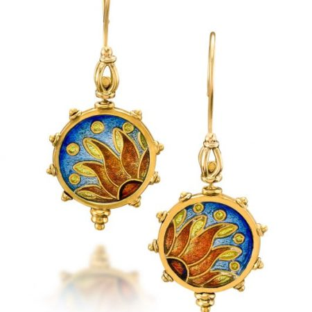 Gold Earrings | Custom Enamel Earrings | Pathos | Enamel Jewelry by Patsy Croft