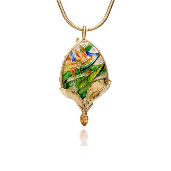 Queen Bird of Paradise | Enamel Necklace | Patsy Croft Jewelry