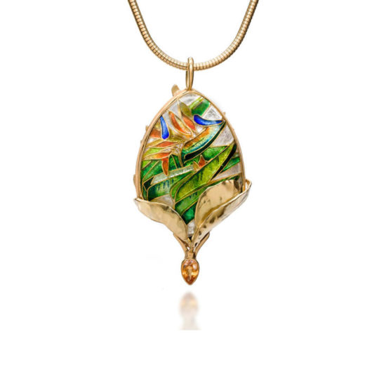 Queen Bird of Paradise   Enamel Necklace   Patsy Croft Jewelry