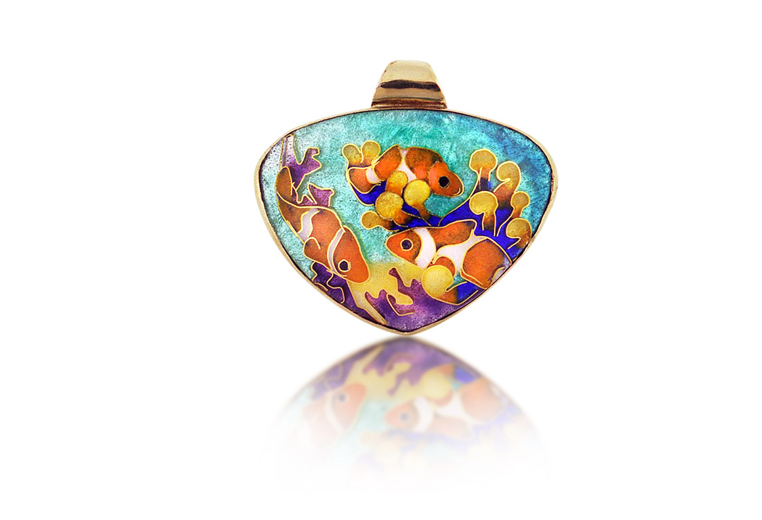 Clownfish in Reef | Cloisonne jewelry | Enamel jewelry | Unique jewelry designs