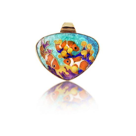 Clownfish in Reef | Cloisonne jewelry | Enamel jewelry | Finding Home | Finding Nemo | Pendant