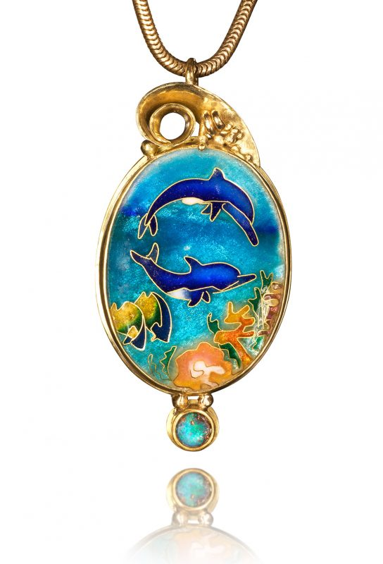 Cloisonne Jewelry   Dolphins in the Sea   Enamel Jewelry by Patsy Croft