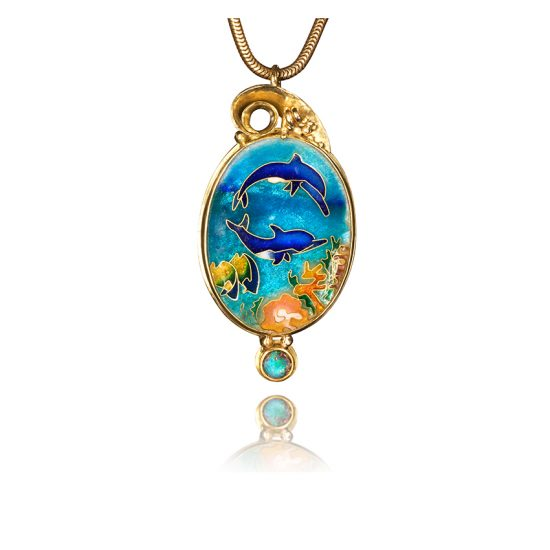Echo | Dolphins Necklace | Cloisonne | OOAK | Pendant | Jewelry by Patsy Croft