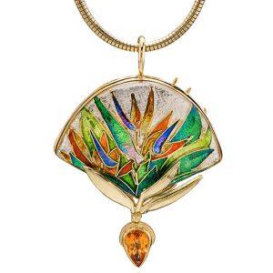 Double Bird of Paradise | Custom Enamel Pendants | Enamel Jewelry by Patsy Croft