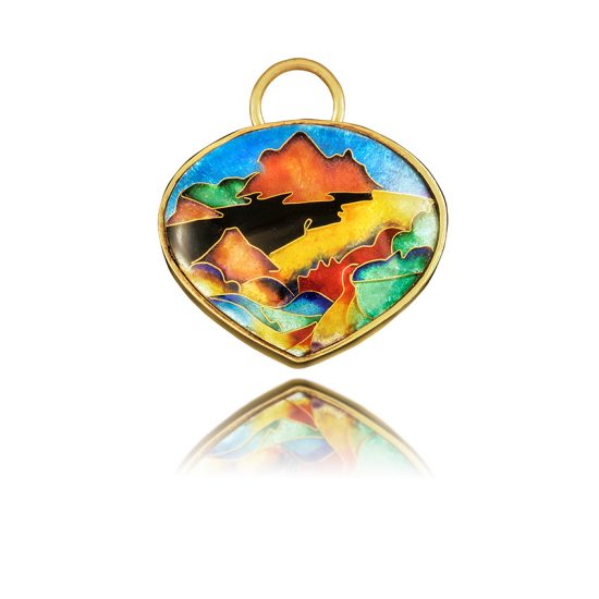 Haleakala Necklace | Cloisonne Jewelry | Enamel Jewelry | Unique gold jewelry