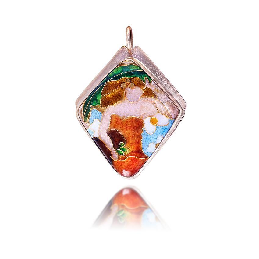 Cloisonne Jewelry Hawaiian Lady Enamel Jewelry By Patsy Croft