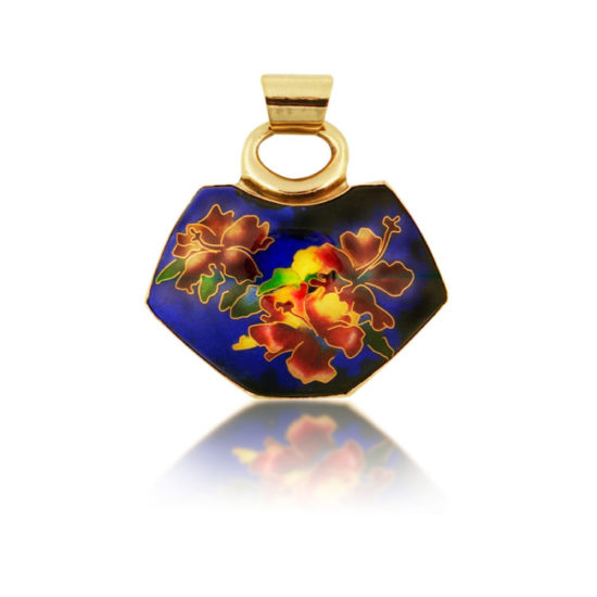 Hibiscus in Blue Pendant   Cloisonne Jewelry   Enamel Jewelry