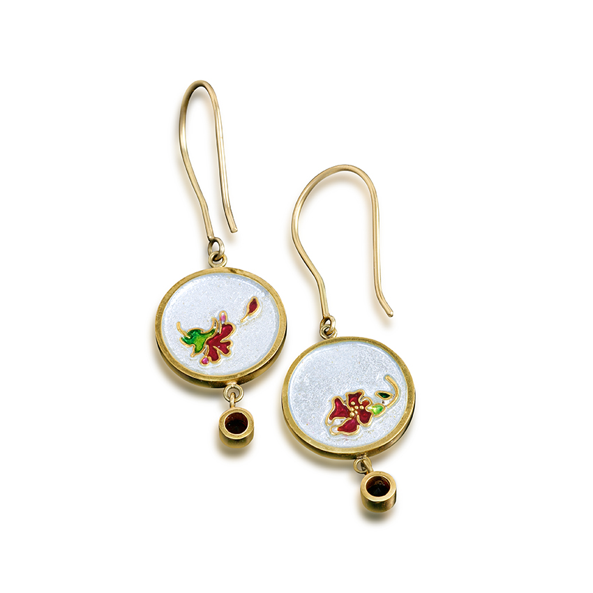Hibiscus Earrings | Cloisonne Jewelry | Enamel Jewelry