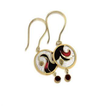 Hibiscus Earrings   Cloisonne Jewelry   Enamel Jewelry