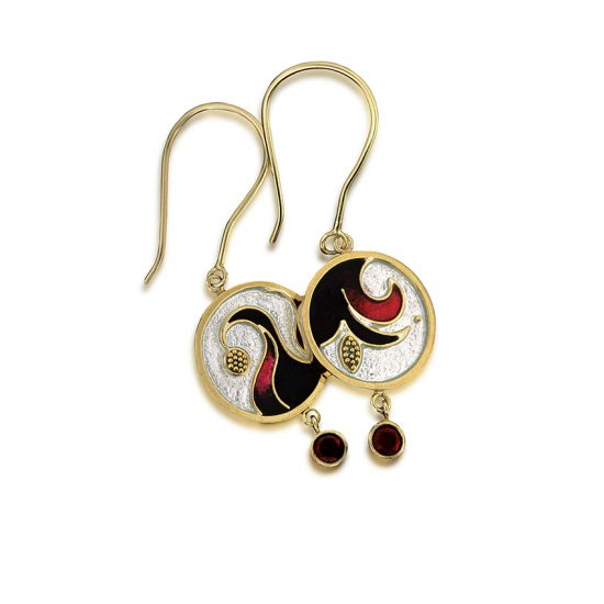 Hibiscus Earrings | Cloisonne Jewelry | Enamel Jewelry
