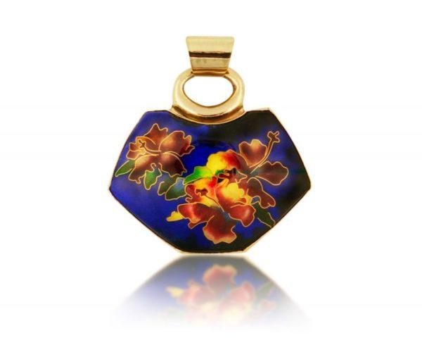 Midnight Blue Red Hibiscus | Cloisonne Pendant | Custom Jewel