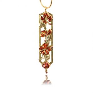 Hibiscus Pendant Detail | One of a kind Enamel Jewelry