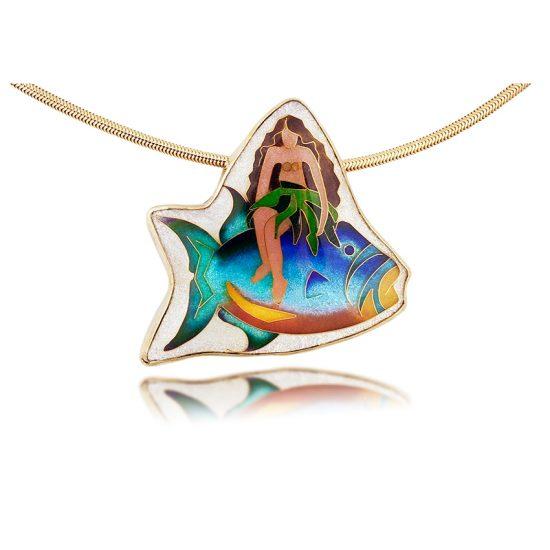 Humuhumu Hula Girl | Cloisonne Jewelry | Enamel Jewelry