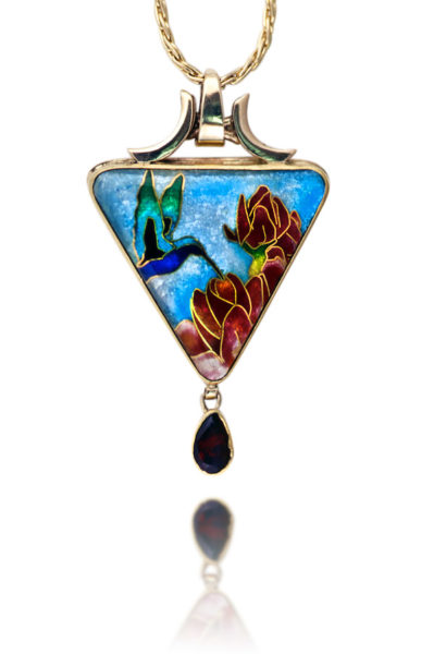 Tiny Dancer   Hummingbird Jewelry   Cloisonne Pendant Necklace