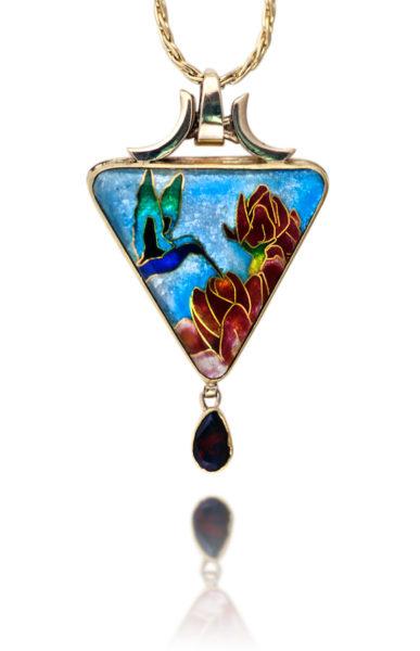 Tiny Dancer | Hummingbird Jewelry | Cloisonne Pendant Necklace