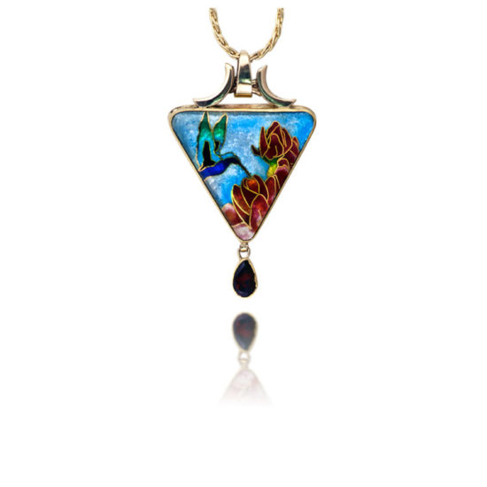 Cloisonne   Pendant Necklace   Tiny Dancer   Hummingbird Jewelry   Patsy Croft
