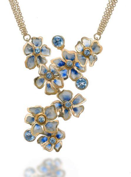 Blue Rhapsody Impatiens | Plique a Jour Necklace | Enamel Jewelry