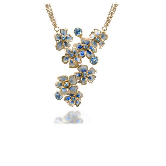 Blue Rhapsody   Impatiens   Plique a Jour   Enamel Jewelry   Blue Impatiens